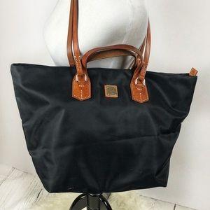 Dooney & Bourke Black Nylon Tote w/leather straps